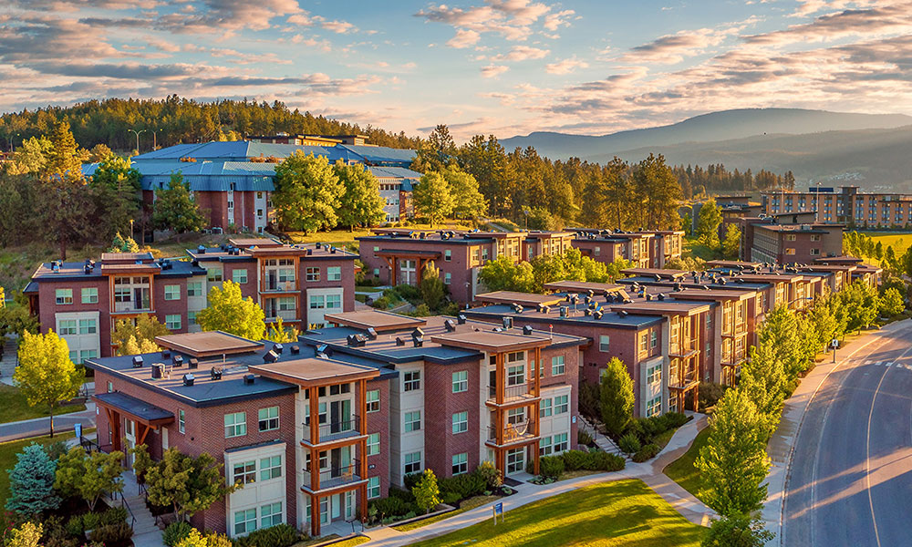 on-campus housing aerial view at UBC Okanagan