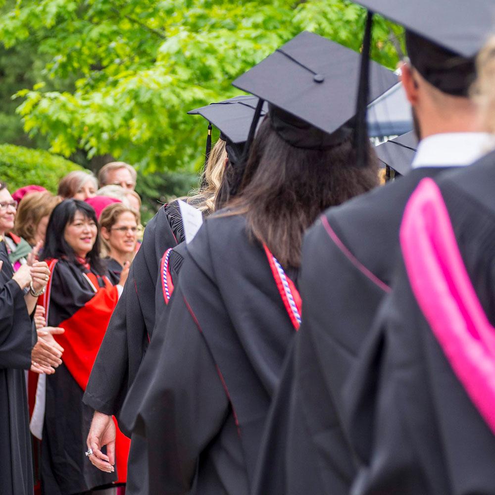 graduation, walking, hat, gown
