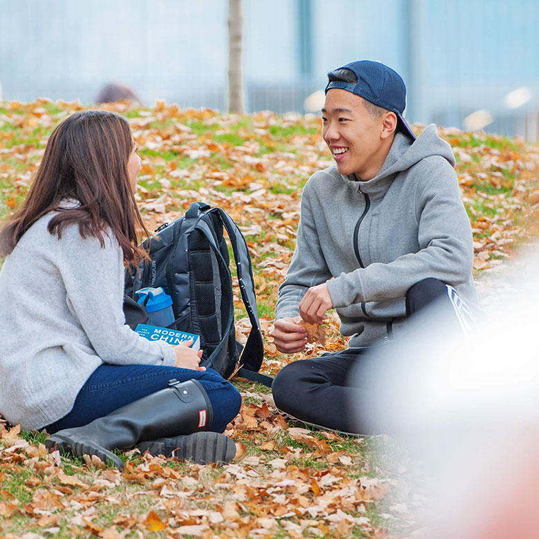 two, student, sitting, conversation, outside
