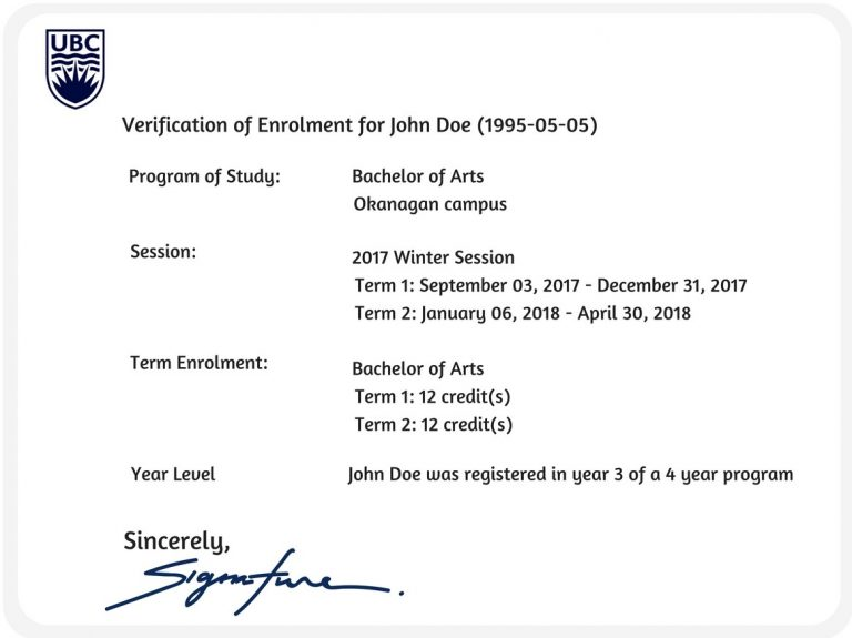 proof of enrolment letter