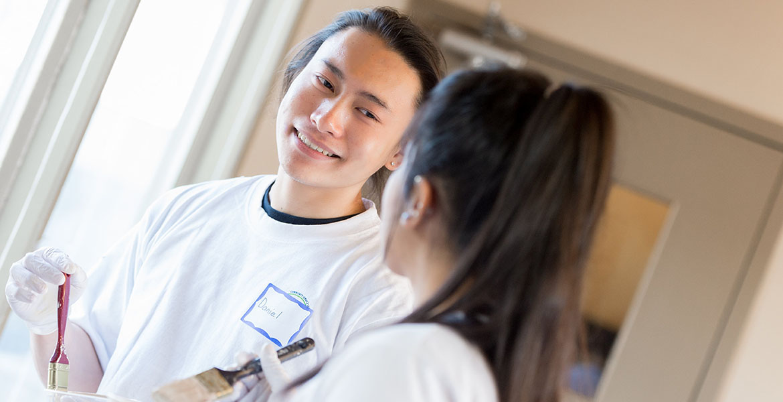 students, painting, volunteering