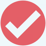 A red circle with a light blue checkmark in the center.