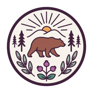 Graphic featuring elements of the Syilx Okanagan landscape (mountains, sun, ponderosa pines, syia berries), a grizzly bear to symbolize Kelowna and sage to illustrate wisdom from elders.
